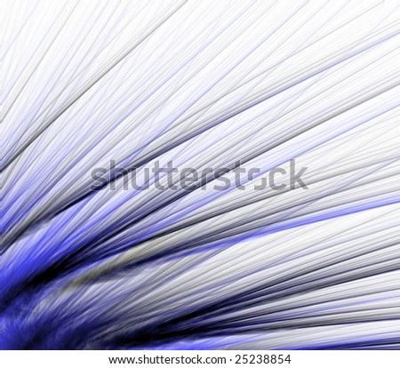 Abstract Background -  Blue colored fiber textures fanning out in layers against white