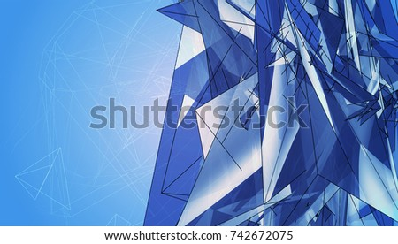 Abstract Background Blue Polygonal. Beautiful Illustration.