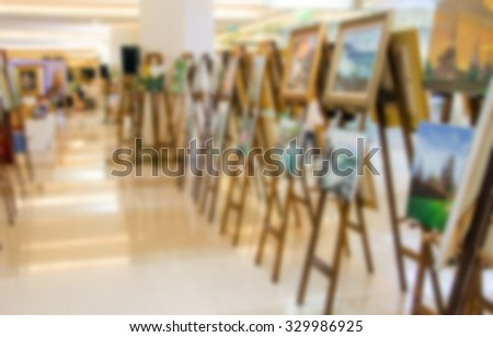 abstract background blur art gallery painting frame - stock photo