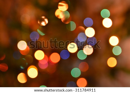 Abstract background bokeh. View Christmas tree lights photographed defocused lens, colorful bokeh. - stock photo