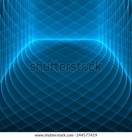 Abstract background. Bright blue lines on the dark. Geometric pattern. Digital art.