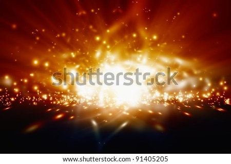 Abstract background - bright orange lights - stock photo