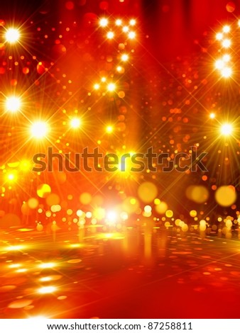 Abstract background - bright yellow lights with reflection - stock photo