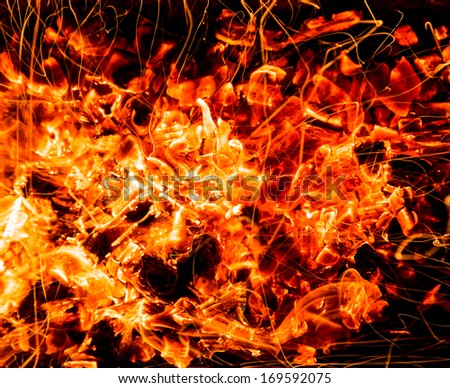 abstract background. burning charcoals with sparks