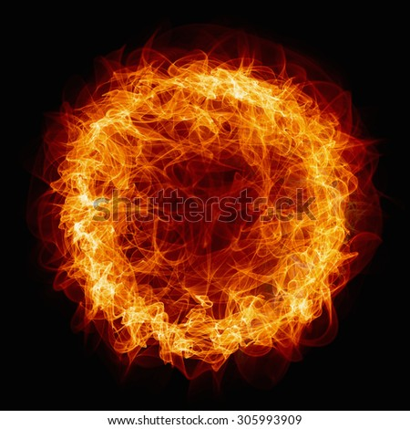Abstract  background - burning circle, ring of fire - stock photo