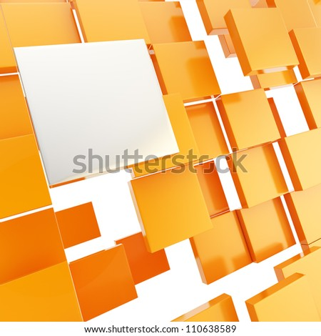 Abstract background chaotic orange glossy plate compositon with chrome copyspace square above - stock photo