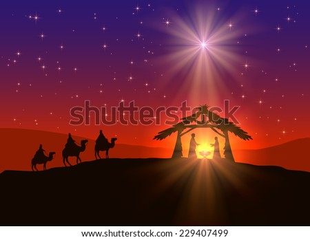 Abstract background, Christian Christmas scene with shining star in the sky, birth of Jesus, and three wise men on camels, illustration.  - stock photo