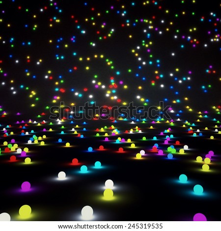 Abstract background, colored glowing balls - stock photo