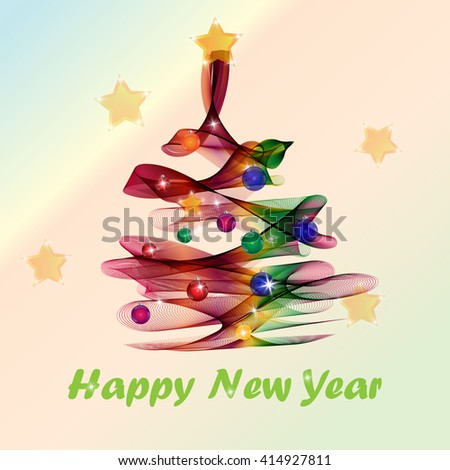 Abstract background colorful wave Christmas tree