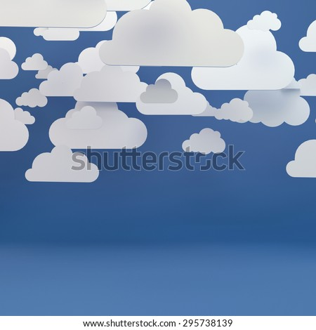 Abstract background composed of white paper clouds over blue.  - stock photo