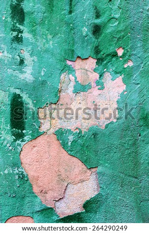 Abstract background concrete painted green paint, weathered with cracks and scratches. Landscape style. Grungy Concrete Surface. Great background or texture. - stock photo