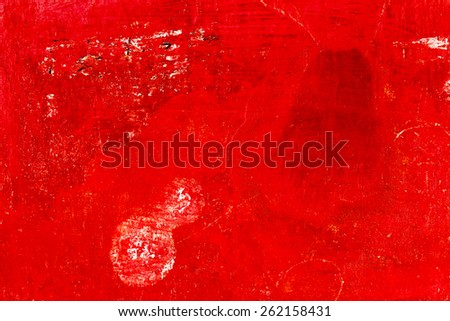 Abstract background concrete painted red paint, weathered with cracks and scratches. Landscape style. Grungy Concrete Surface. Great background or texture. - stock photo