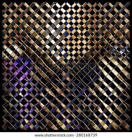 Abstract background 3d, glass, metal, mosaic. Tool for designers or idea for interior exterior wall, floor or Background for studio photography. Hand digital painting, illustration. - stock photo