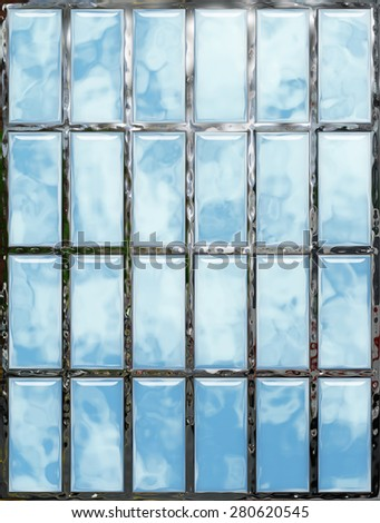 Abstract background 3d, seamless window, glass, metal, mosaic. Tool for designers or idea for interior exterior wall, floor or Background for studio photography. Hand digital painting, illustration. - stock photo