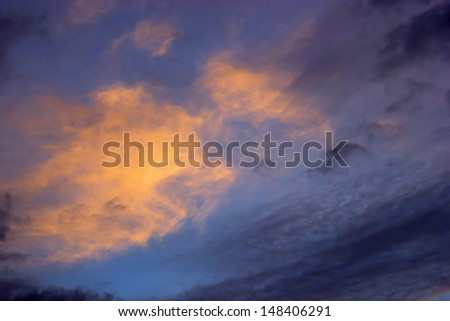 Abstract background dark space with clouds and sunLight - stock photo