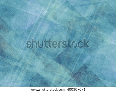abstract background design, geometric lines angles stripes and abstract shapes in white layers of transparent material on faded blue and teal green background color with texture - stock photo