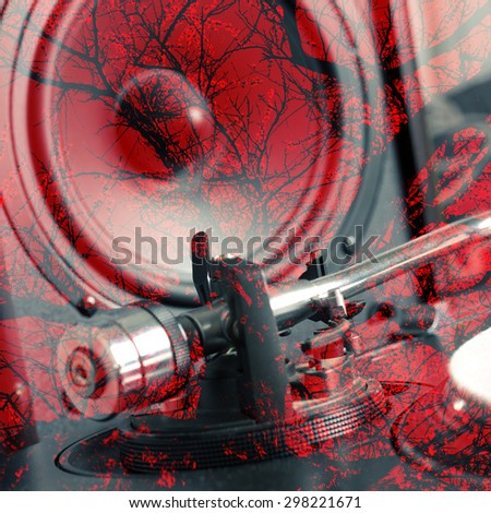 Abstract background. Double exposure - turntable and speaker - stock photo