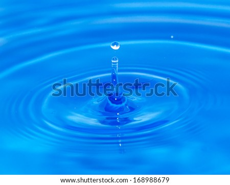abstract background. drop falls in blue water