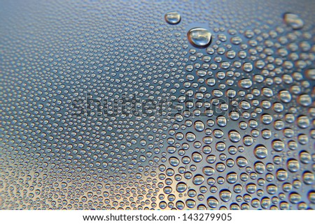 Abstract background. Drops of water on the crooked glass, shallow dof
