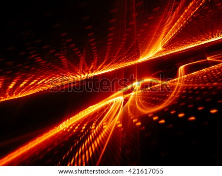 Abstract background element. Fractal graphics series. Three-dimensional composition of glowing lines and halftone effects. Information and energy concept. Red and black colors. - stock photo