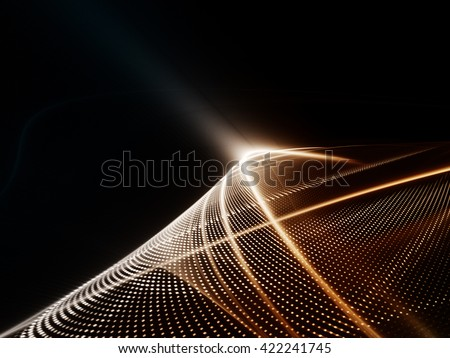 Abstract background element. Fractal graphics series. Three-dimensional composition of glowing lines and halftone effects. Information and energy concept. Red metal and black colors. - stock photo