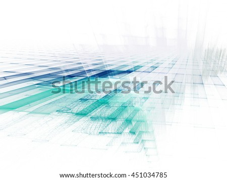 Abstract background element. Fractal graphics series. Three-dimensional composition of intersecting layers. Information technology concept. Blue and white colors. - stock photo