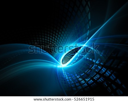 Abstract background element. Fractal graphics series. Three-dimensional composition of intersecting grids and motion blur. Blue and black colors.