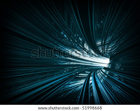 Abstract background: fast motion in turning blue tunnel with the light at the end - stock photo