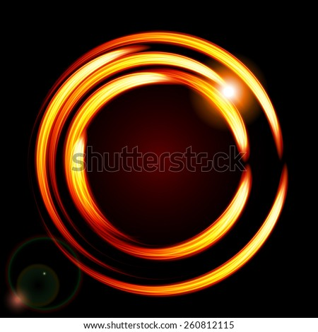Abstract background-fire circle frame. Raster version. - stock photo
