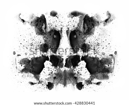 abstract background for design. oil. watercolor. acrylic. abstract hand painted watercolor ink rorschach grunge background, black and white flower. Hand made technique, genuine original effect. - stock photo