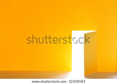 Abstract background for your notes made from yellow paper with cutting open door. - stock photo