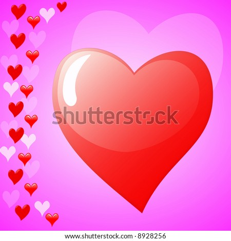 abstract background formed by different hearts - stock photo
