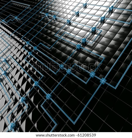 Abstract background from black metal big and blue small cubes - stock photo