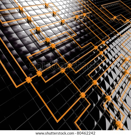 Abstract background from black metal big and orange small cubes - stock photo