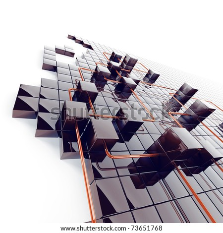 Abstract background from black metal cubes and red wires - stock photo