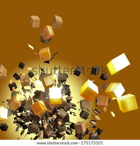 Abstract background from brown and gold cubes - stock photo