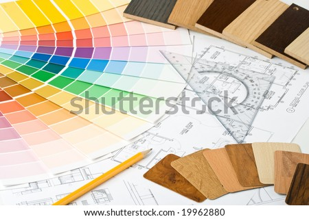 Abstract background from color guide,  samples of materials and the house plan - stock photo