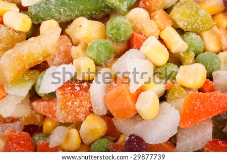 Abstract background from fresh frozen vegetables. Close up.