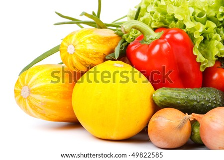 Abstract background from fresh vegetables on a white background.