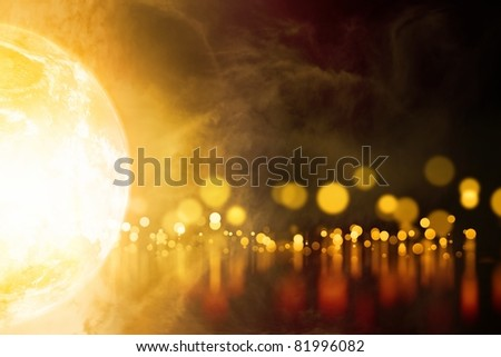 Abstract background - glowing planet, orange blurred lights with reflection - stock photo