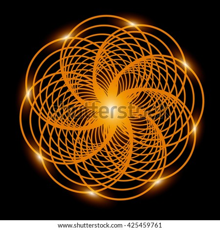 Abstract background. Gold fractal flower with lights. - stock photo