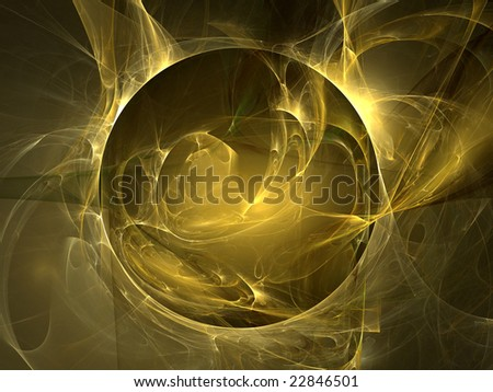 Abstract background. Gold yellow palette. Raster fractal graphics.