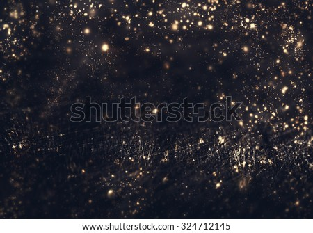 Abstract background - golden lights, flash , night city, lens flare. Abstract fractal black and dark gold wallpaper  - stock photo
