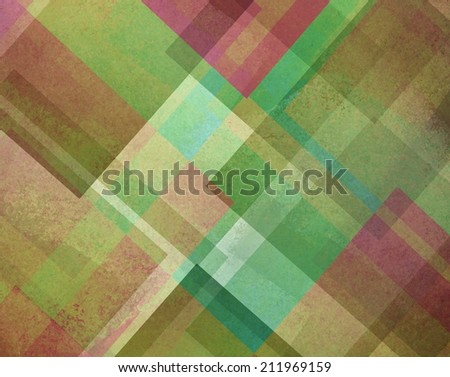 abstract background green and pink square and diamond shaped layers in diagonal angles pattern background - stock photo