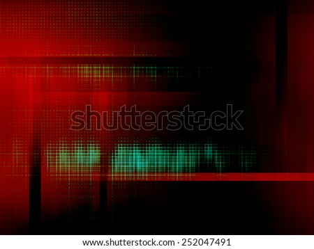Abstract background. Green grid on red and black background.