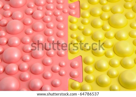 Abstract background, half red, half yellow balls