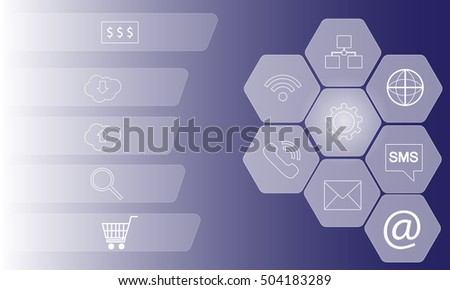 abstract background. hexagons with different icons. on a blue background.