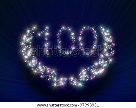 Abstract background illustration representing a greeting gift card dedicated to 100 anniversary jubilee with figures and laurel wreath made of twinkling sparking variegated - stock photo