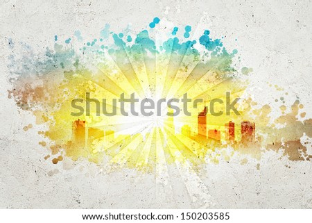 Abstract background image with sun rays and city illustration - stock photo