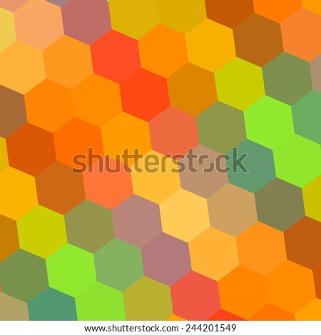 Abstract Background in Rainbow Colors - Pattern Element for Design Illustration - Hexagon Mosaic - Beautiful Color Art - Digital Backdrop Yellow Orange Red Green Blue - Colorful Honeycomb - 70s - stock photo